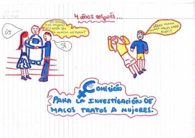 Uno de los dibujos de la exposción de hijos de víctimas de violencia machista