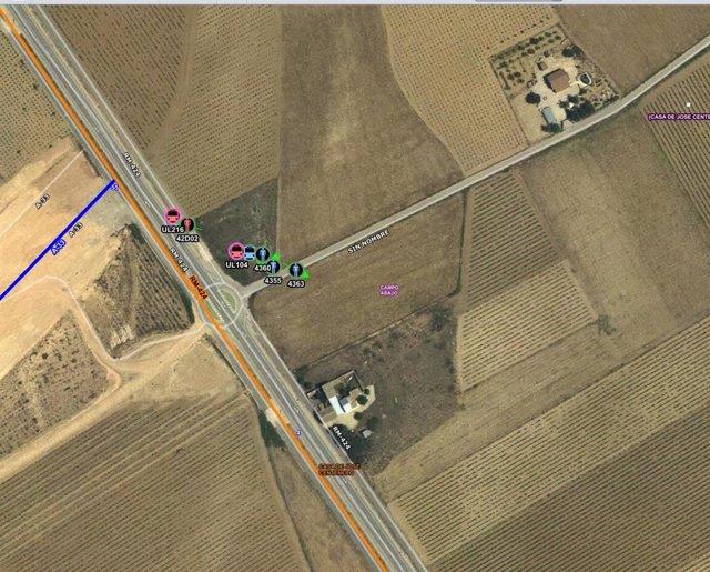 Localización de accidente de tráfico en Yecla