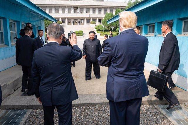Moon Jae In, Kim Jong Un y Donald Trump