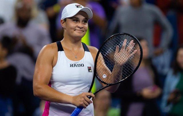 La jugadora estadounidense Ashleigh Barty tras ganar la segunda ronda en el US Open