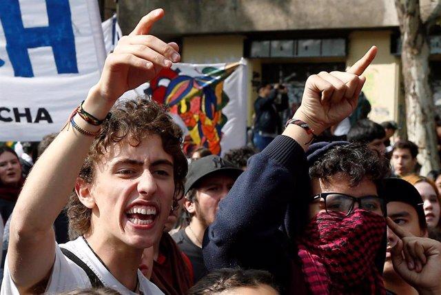 Manifestación estudiantil en Santiago de Chile