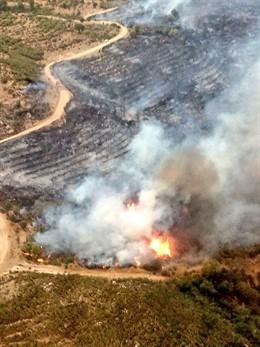 Imagen del incendio declarado en Collado de la Vera (Cáceres)