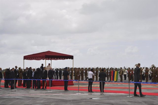 Sept 9, 2019 - Mauritaus: Pope Francis idurign Welcome Ceremony at the Airport of Port Louis. (CPP/CONTACTO)