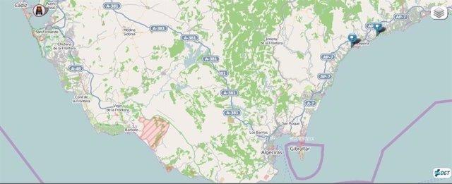 Imagen del mapa de carreteras de la zona donde se registró el accidente