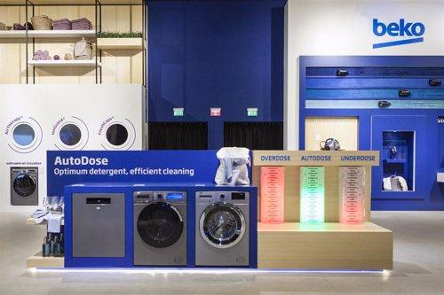 El stand de lavadoras y lavavajillas de la empresa de electrodomésticos Beko, en la feria de tecnología IFA Berlin 2019.