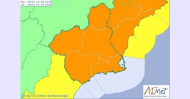 Mapa aviso naranja en toda la Región para el jueves