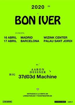 Cartell dels concerts de Bon Iver a Madrid i Barcelona