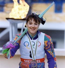 Blanca Fernández Ochoa con la medalla de bronce de los Juegos de Albertville