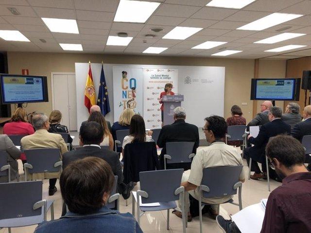 La ministra de Sanidad, Consumo y Bienestar Social, María Luisa Carcedo, interviene en la Jornada por el Día Mundial del Suicidio en la sede del Ministerio