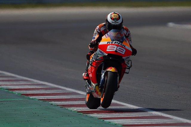 El piloto de MotoGP Jorge Lorenzo (Repsol Honda) en el test de Misano en 2019