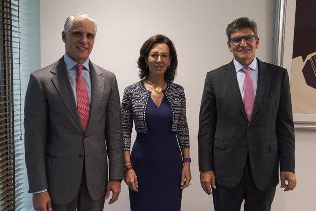 Ana Botín, José Antonio Álvarez y Andrea Orcel