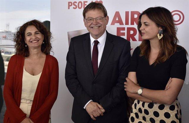Ximo Puig, María Jesús Montero y Sandra Gómez mantienen un encuentro con empresarios y sindicatos en Valencia