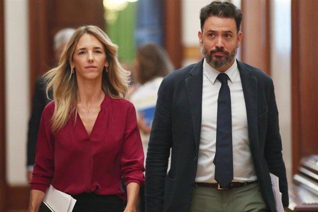La portavoz parlamentaria del PP, Cayetana Álvarez de Toledo, y el diputado Guillermo Mariscal  salen de la Junta de Portavoces del Congreso de los Diputados en Madrid (España), a 10 de septiembre de 2019.