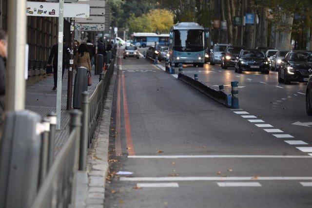 Imagen de uno de los carriles que delimita Madrid Central.