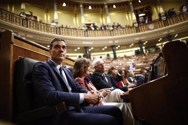 El presidente del Gobierno en funciones,  Pedro Sánchez, sentado en su escaño en el Congreso