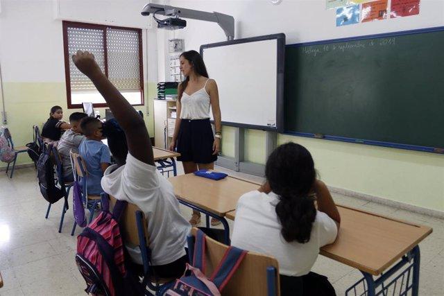 Aula del del colegio de Educación Infantil y Primaria 'Manuel Altolaguirre' de Málaga, en la apertura del curso escolar