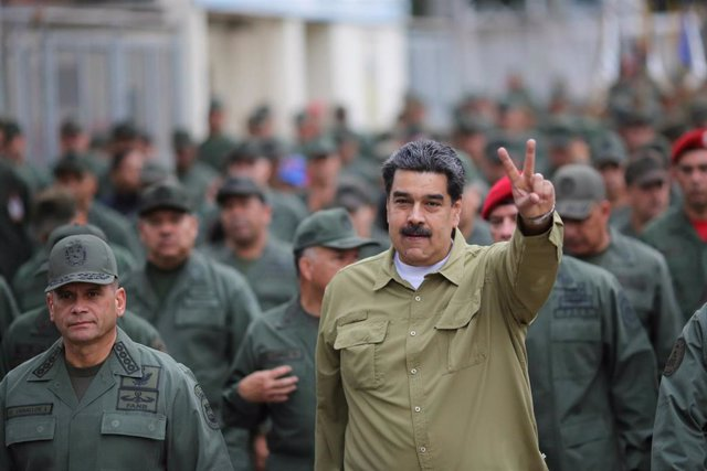 El presidente de Venezuela, Nicolás Maduro, en un desfile militar