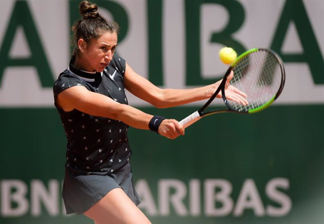 Sara Sorribes Tormo of Spain in action during her second-round match at the 2019 Roland Garros Grand Slam tennis tournament