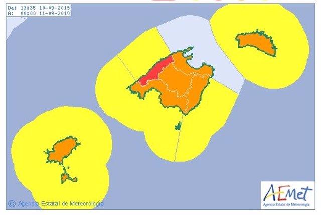 Aemet activa el aviso rojo por lluvias en la Serra de Tramuntana.