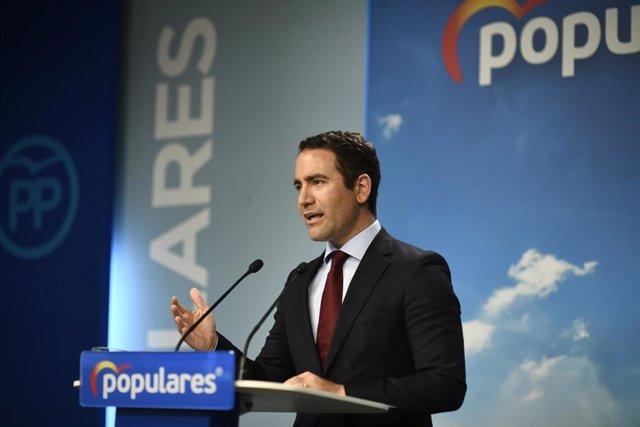 El secretario general del PP, Teodoro García Egea, durante una rueda de prensa tras la reunión del Comité de Dirección del Partido Popular en la sede de Génova, en Madrid.