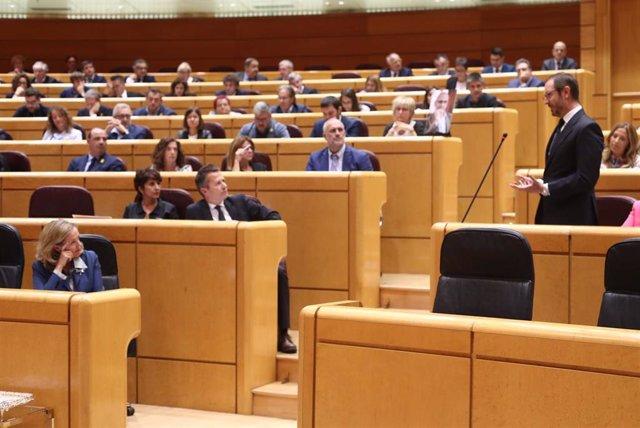 El portavoz del PP en el Senado, Javier Maroto, interviene en el Pleno del Senado.