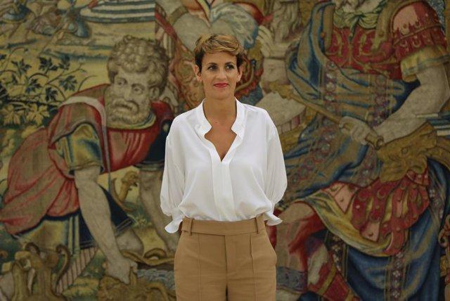 La presidenta de la Comunidad Foral de Navarra, María Victoria Chivite Navascués, espera a ser recibida en audiencia por el Rey en el Palacio de la Zarzuela, en Madrid (España), a 10 de septiembre de 2019.