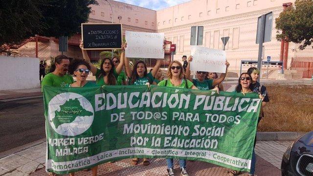 Movilización de Marea Verde con motivo del comienzo del curso escolar