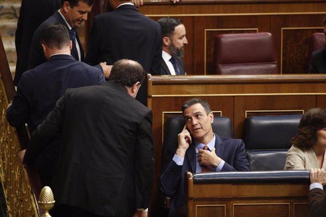 El presidente del Gobierno en funciones, Pedro Sánchez, mira al líder de ERC, Oriol Junqueras, desde su escaño en el Congreso