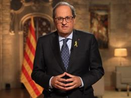 El president de la Generalitat, Quim Torra, en el missatge institucional de la Diada 2019
