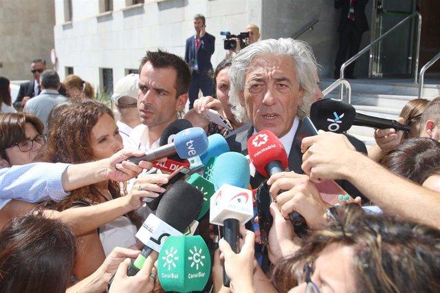 Francisco Torres,  abogado de la familia de Gabriel Cruz -el niño asesinado en febrero de 2018 en el municipio almeriense de Níjar- en declaraciones a la prensa después de salir de la Audiencia de Almería