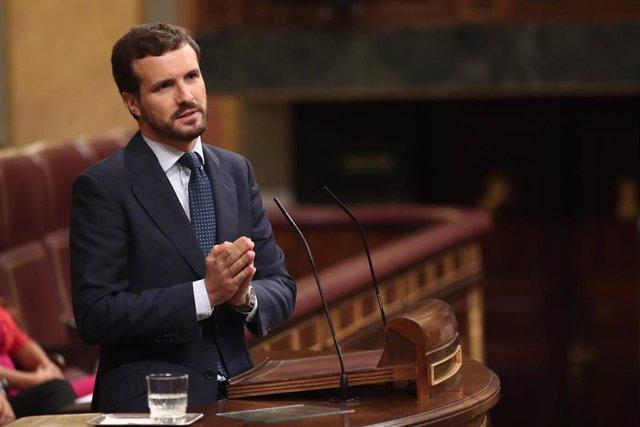 El presidente del Partido Popular, Pablo Casado, interviene en la sesión de control al Gobierno en funciones, en Madrid (España) a 11 de septiembre de 2019.