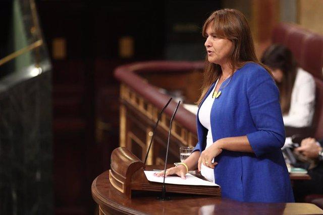 La portavoz de Junts per Cataluña (JxCat) en el Congreso, Laura Borrás, interviene en la sesión de control al Gobierno en funciones, en Madrid (España) a 11 de septiembre de 2019.