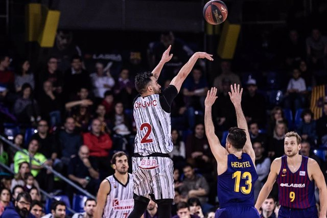 Marko Popovic, #2 of Montakit Fuenlabrada during the Liga Endesa match between FC Barcelona Lassa and Montakit Fuenlabrada at Palau Blaugrana, in Barcelona, Spain. February 09, 2019.