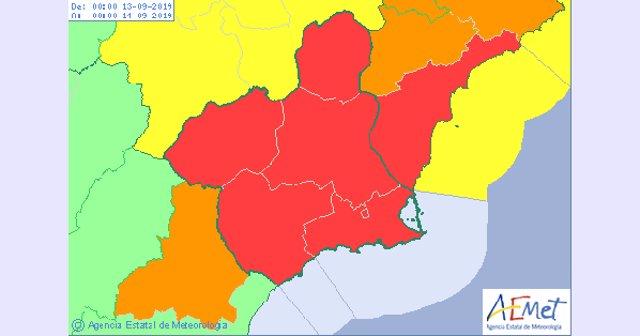 Mapa rojo aviso por lluvias en la Región