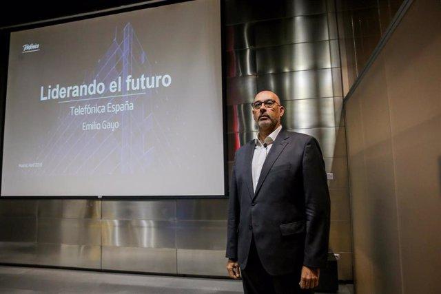 El presidente de Telefónica España, Emilio Gayo, durante la presentación de las iniciativas de la compañía para los próximos meses