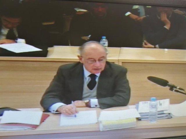 El expresidente de Bankia Rodrigo Rato comparece en la Audiencia Nacional durante el juicio por la salida a Bolsa de la entidad financiera.
