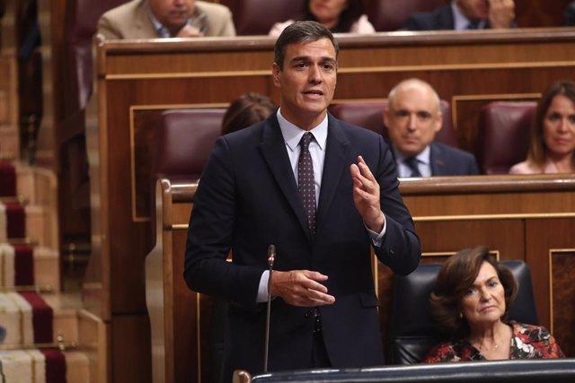 El president del Govern en funcions, Pedro Sánchez, respon les preguntes dels grups parlamentaris durant la sessió de control al Congrés.