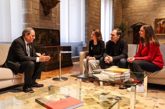 Representants de Gure Esku Dago són rebuts a Barcelona pel president de la Generalitat, Quim Torra.
