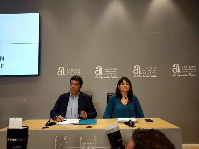 El presidente de la Diputación, Carlos Mazón, y la vicepresidenta de la institución, Julia Parra. Imagen de archivo.