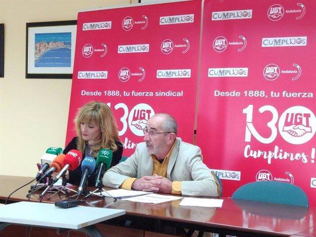 La secretaria general de UGT Andalucía, Carmen Castilla y el secretario de Política Sindical, Salud Laboral y Medio Ambiente de UGT Andalucía, Juan Carlos Hidalgo, en una foto de archivo.