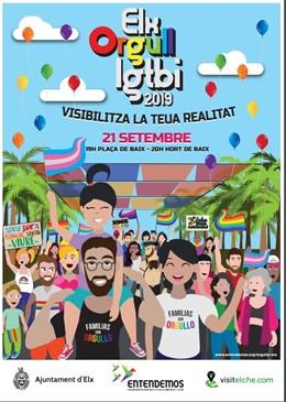 Cartel de la primera manifestación LGTBI de Elche.