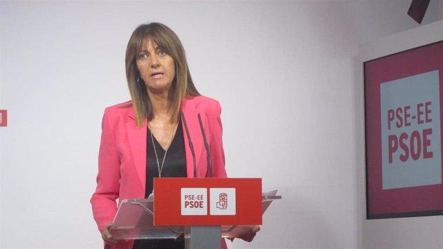 La secretaria general del PSE-EE, Idoia Mendia. En una rueda de prensa en Bilbao