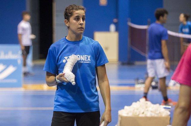 La española Carolina Marín entrenándose en Huelva