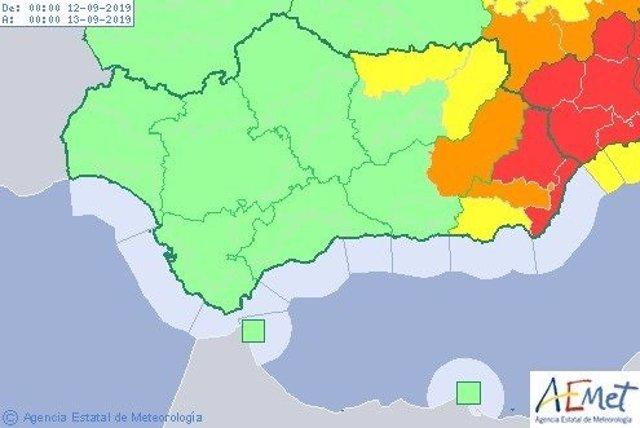 Mapa con los avisos meteorológicos de este jueves