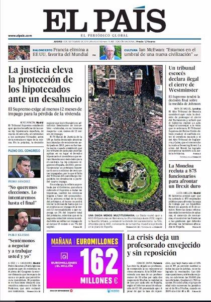 Las portadas de los periódicos del jueves 12 de septiembre de 2019
