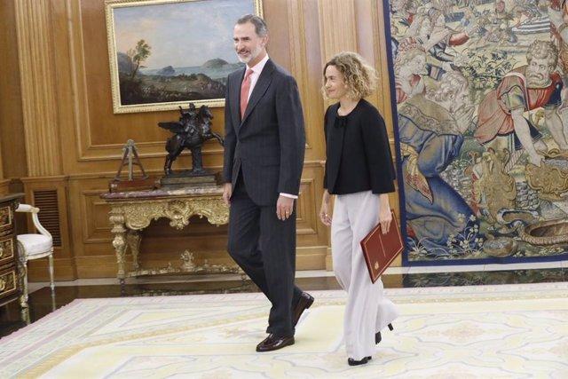 El Rey Felipe VI recibe en el Palacio de la Zarzuela a la presidenta del Congreso de los Diputados, Meritxell Batet.