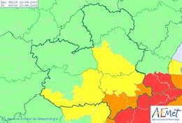 Mapa de predicción de lluvias para el 12 de septiembre en Castilla-La Mancha