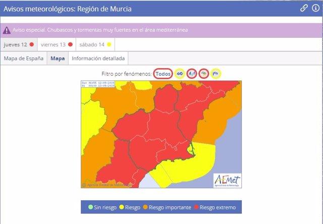 Aviso rojo de la AEMET por lluvias en la Región de Murcia para el jueves 12 de septiembre de 2019
