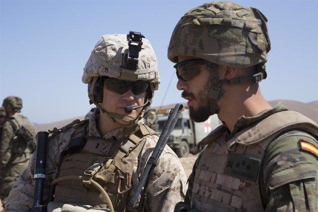 """La Brigada """"Canarias"""" XVI se adiestra en un ejercicio bilateral con los Marines de EEUU en la isla de Fuerteventura"""