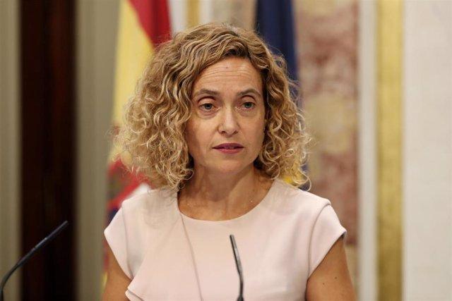 La presidenta del Congreso, Meritxell Batet, comparece en la Cámara Baja tras su